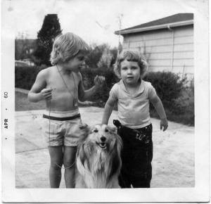 "Mary Lou, me and her dog ""Peppi""."