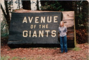 Me and the Avenue of the Giants sign
