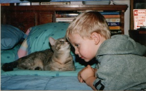 Dylan's First & Last Cat Kiss!