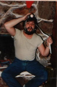 1983 -December -Randy taping flashlight to his head to sled down the hill